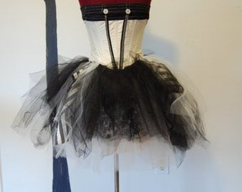 Cream black and white striped goth lolita steampunk victorian night circus fits size small to x -small