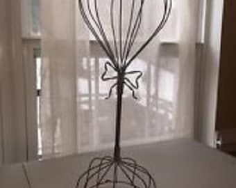 Vintage Wire Hat Stand- Great for Hats, Wigs, Scarves- Shabby Chic Decor