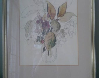Vintage Mary Lou Goertzen Painting Framed.  Purple and Green.  Flowers in a Jar.