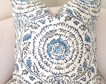 Blue Pillow Cover Throw Pillow Decorative Pillow Medallion Pillow Cushion Accent Pillow