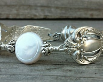 Lovely Antique Spoon Bracelet Made With A Genuine Pearl