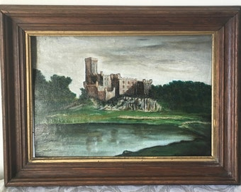 Vintage Antique Scenic Oil Painting on Board of a Castle