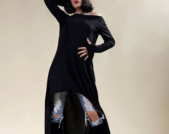"Long deconstructed black tunic ""Schizophrénia"""