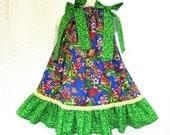 Girls 2T/3T Blue Green Flower Garden Boutique Handmade Pillowcase Dress Pillow Case Dress Sundress