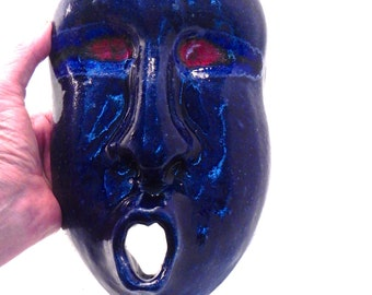Blue Man Ceramic Mask.