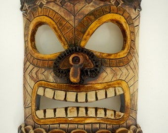 Hawaiian Tiki Ceramic Mask-Tropical Decor