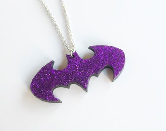 Glittery purple Batman necklace