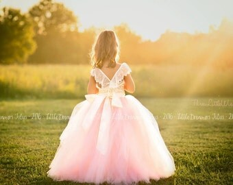 NEW! The Everly Dress in Ivory and Pink Blush - Flower Girl Tutu Dress