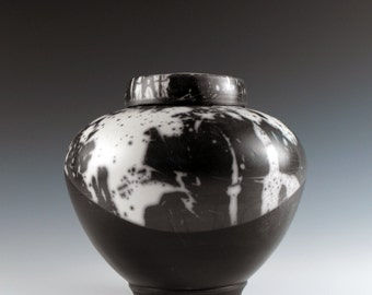 Ceramic Urn, Raku Keepsake Urn or Pet Urn Alternative Raku Black and White Cremation Urn