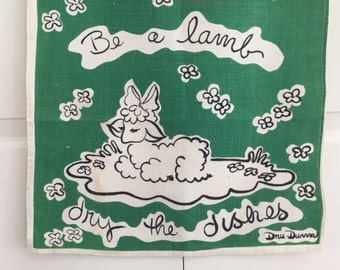 Be a Lamb Vintage Tea Towel Designer Textile