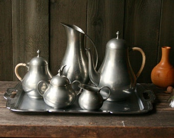 Pewter Tea Set Coffee Set 5 Piece on Metal Tray Vintage From Nowvintage on Etsy