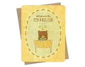 peek-a-boo - new baby card - baby bear card - congratulations card - keepsake real wood card - perfect for new parents - wc1376