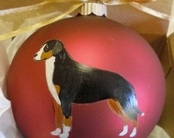 Greater Swiss Mountain Dog Swissy Hand Painted Christmas Ornament - Can Be Personalized with Name