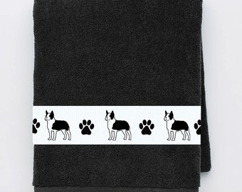 Boston Terrier Dog Bath Towel -with or without name