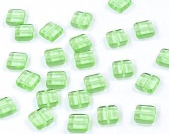 Peridot Green Flat Square Czech Glass Tile Beads 9mm - 25