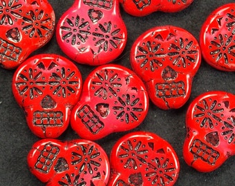 Sugar Skull Bright Opaque Red with Black Czech Glass Beads 20mm - 4