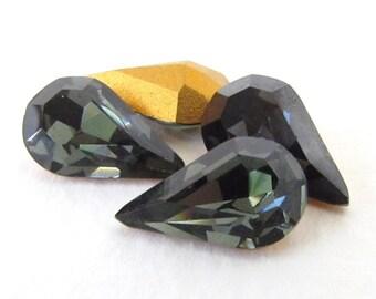 Vintage Swarovski Crystal Rhinestone Morion Grey Pear Teardrop Jewel 13x8mm swa0724 (4)