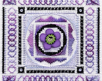 Cross Stitch Pattern, Mystic Lavender, Counted Thread Sampler, Something In Common, Lavender Purple, Specialty Stitches,  Square Sampler