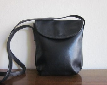 Slim Black Leather cross body purse