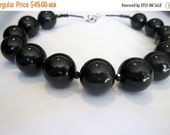 SALE Chunky Black Round Beaded Necklace, Crystal Choker