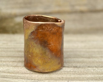 Hammered Copper Wide Band Ring Metal Patina Unique Unisex