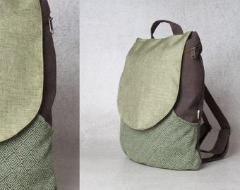 green backpack bag - backpack canvas backpack laptop backpack pattern  - backpack women - laptop bag women backpack