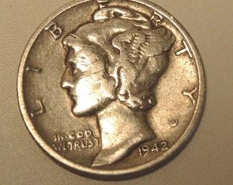 1942d Silver Mercury Dime - Vintage Silver Coin - Historic World War II Dime