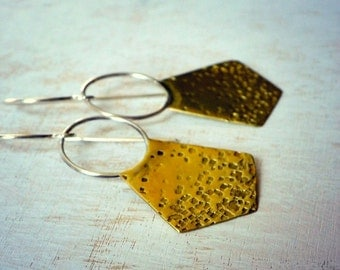 Modern brass earrings, boho earrings, brass and sterling silver earrings, hand cut metal - Nomad