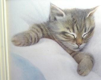 Innocence, Bob Harrison, Vintage Cat Sleeping Picture, Soft Kitten, Sleeping Kitten, Nursery Decor, White Plastic Frame, Vintage Home Decor