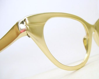Vintage Gold Tura Cat Eye Glasses Eyeglasses Sunglasses Frame Excellent
