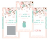 Set of 12 Scratch Off Game Cards for Baby Showers with Mason Jars in Pink and Aqua SC177