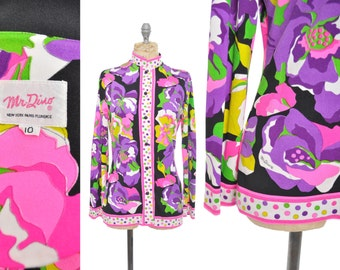 1970s MR DINO blouse / neon floral signed designer blouse / 70s shirt