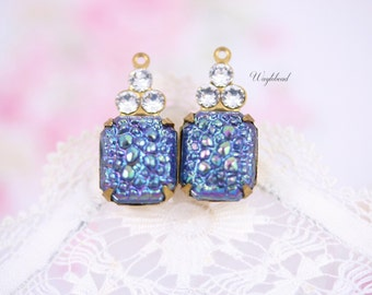Vintage Bumpy Octagon Stone and Swarovski Crystals 1 Ring 21x10mm Brass Settings AB Montana Sapphire & Crystal - 2