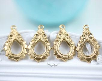 Earring Dangle Art Nouveau Raw Brass Teardrop Charms Pendants Drops - 4