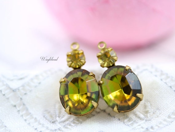 Vintage Oval Round Glass Stones 1 Ring Brass Settings Rhinestone Drops 19x10mm Fused Topaz Olive & Lime Yellow - 2