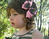 SALE Brown Beanie Crochet Hat with Pink and Mosy Oak Break Up Bow Clip 6-12 months