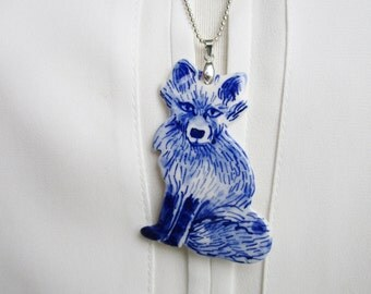 Fox - Blue and white porcelain necklace - Hand made and hand painted Dutch Delftware