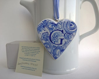 G - Monogram - Initial - Hand painted porcelain  Heart -  Blue and white  Personalized - Delftware ornament