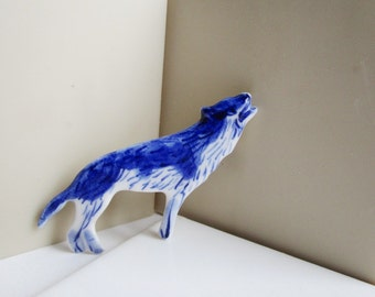 Wolf - Handpainted Delft porcelain Brooch