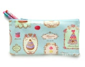 Zipper Pencil Pouch French Cottage Chic Cute Pastries Macaron French Café Zippered Pouch Cupcakes Girly Classic Pastel Blue Kawaii Bag