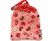 Fairy Tale Bag Small Tote Bag Red Riding Hood Handmade Bag Drawstring Pouch Fairytales Light Peach Pink Polka Dots