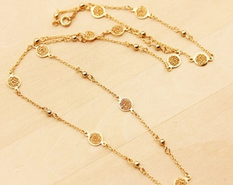 Filigree Chain Necklace, Chain Necklace, Delicate Chain Necklace, Gold Necklace, Long Gold Necklace