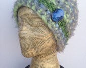 Crocheted Beanie Hat in Green, Turquoise, Blue, Grey, and Yellow with Removable Irridescent Blue Cameo Pin