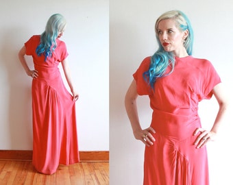 1930s dress | 30s red bias cut rayon evening gown | size m