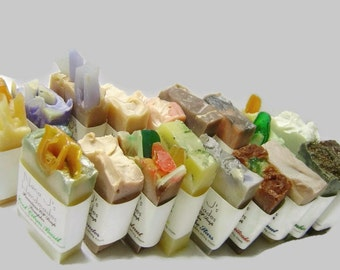 Handmade Cold Process Soap Sampler. U choose 12 guest soap samples. .Ea. 2.1-2.5 oz. party favors, shower,wedding favors.Free Shipping