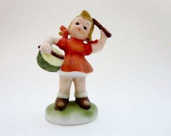 Vintage Girl Figurine  Hummel Like-Girl with Drum Figurine - Bisque Porcelain Girl with Orange Dress and Drum