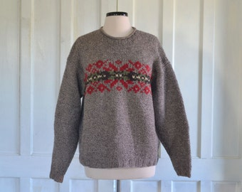 80s 90s J. Crew Wool Sweater Fair Isle Pullover Slouchy Sweater Oversize