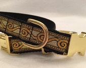 Metallic Gold Bling Dog Collar, In M, L, XL  Brass Plated Buckle