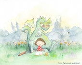 Dragons Love Fairy Tales - Girl with Brown Hair Reading to a Dragon - Art Print