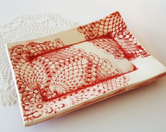 Textured Clay Tray | Serving Tray | Handbuilt bowl | Red and White | Clay dish | Lace Textured | Cheese Tray | Candy Dish | Sushi Tray